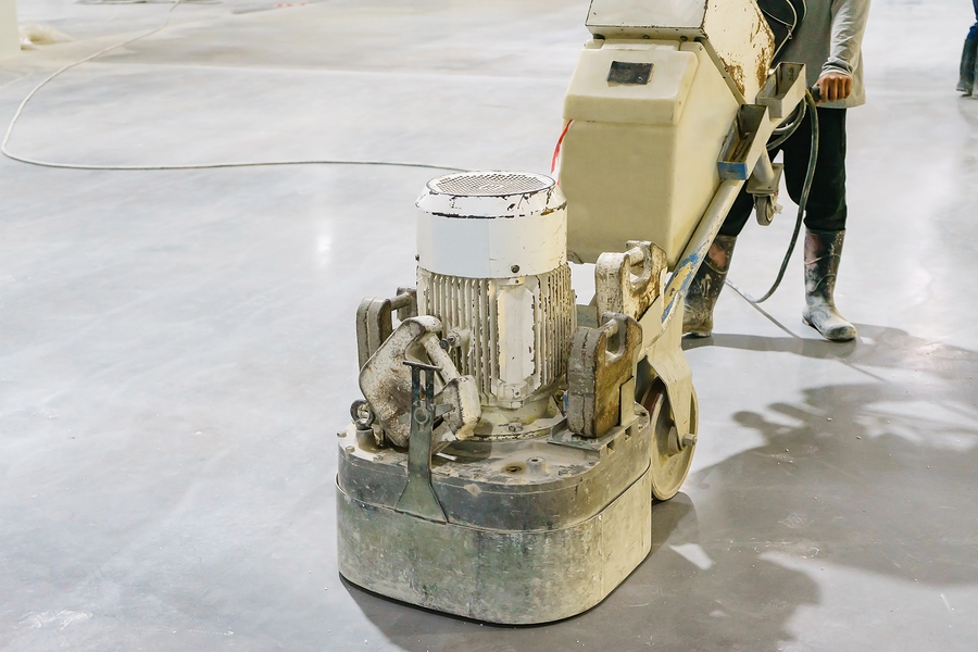 smoothing the cement floor