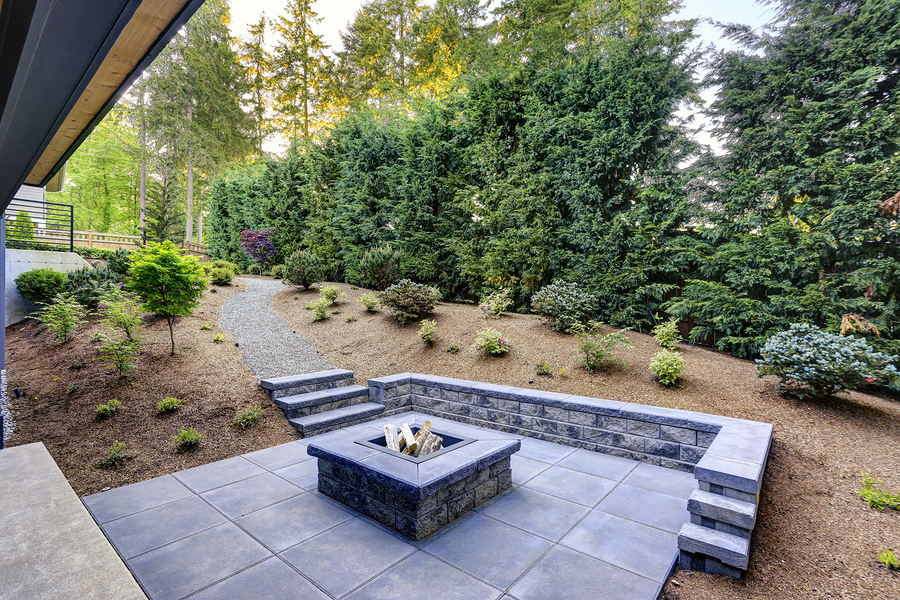 concrete outdoor fire place