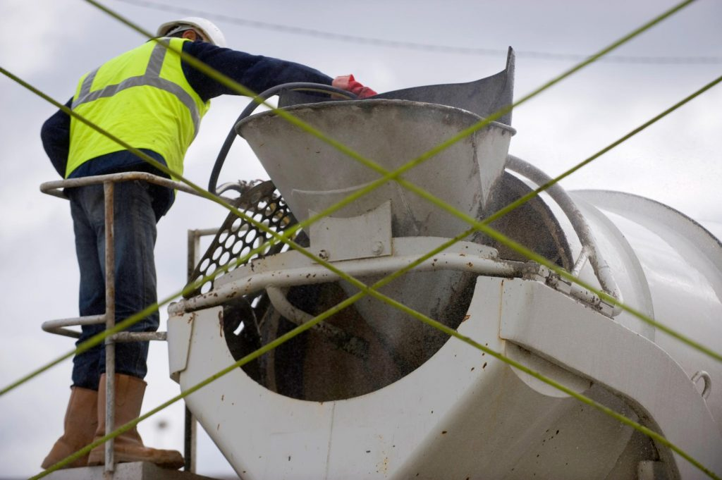 man on the cement mixer