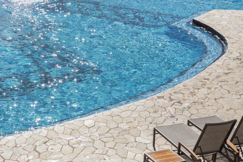 concrete floor on the pool
